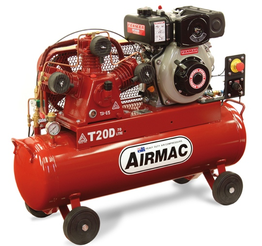 Airmac Mobile Diesel Reciprocating Air Compressor T20D Electric Start Diesel Compressor